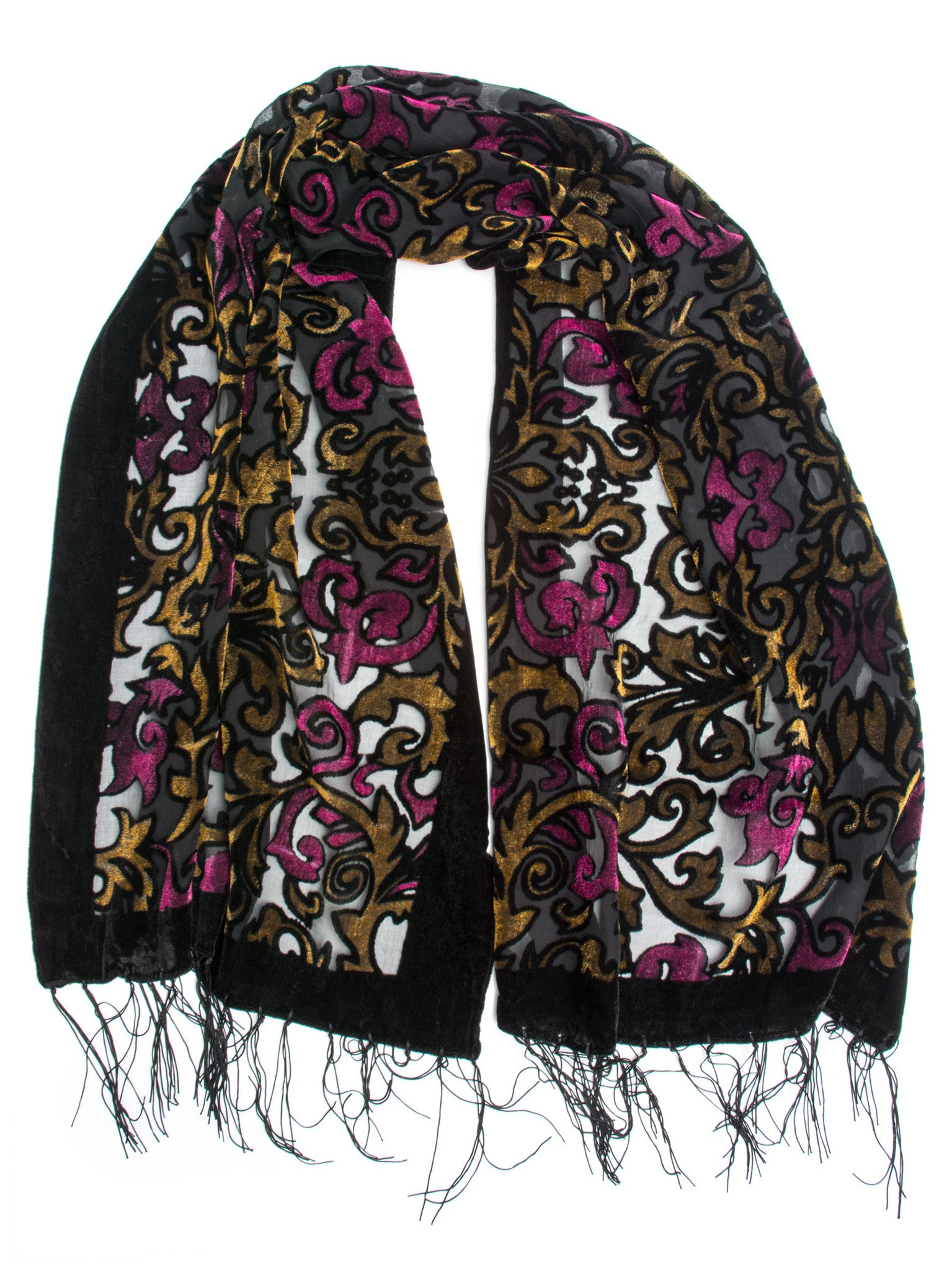 Scarves - Gia Scarf - Silk Brocade Print Velvet Burnout Scarf with Fringe Ends -(Orchid/Gold/Black) Bohomonde  - 1