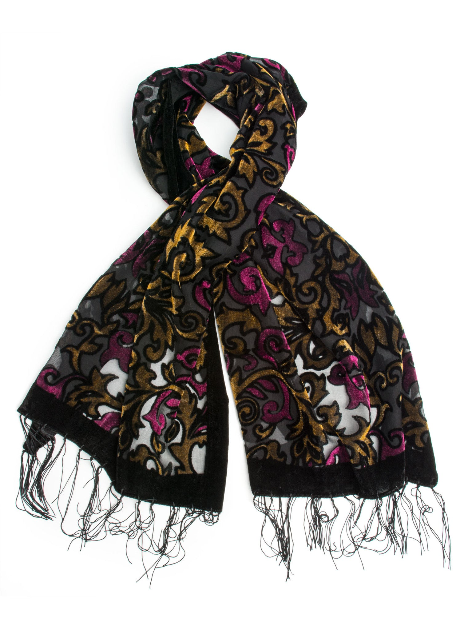 Scarves - Gia Scarf - Silk Brocade Print Velvet Burnout Scarf with Fringe Ends -() Bohomonde  - 3