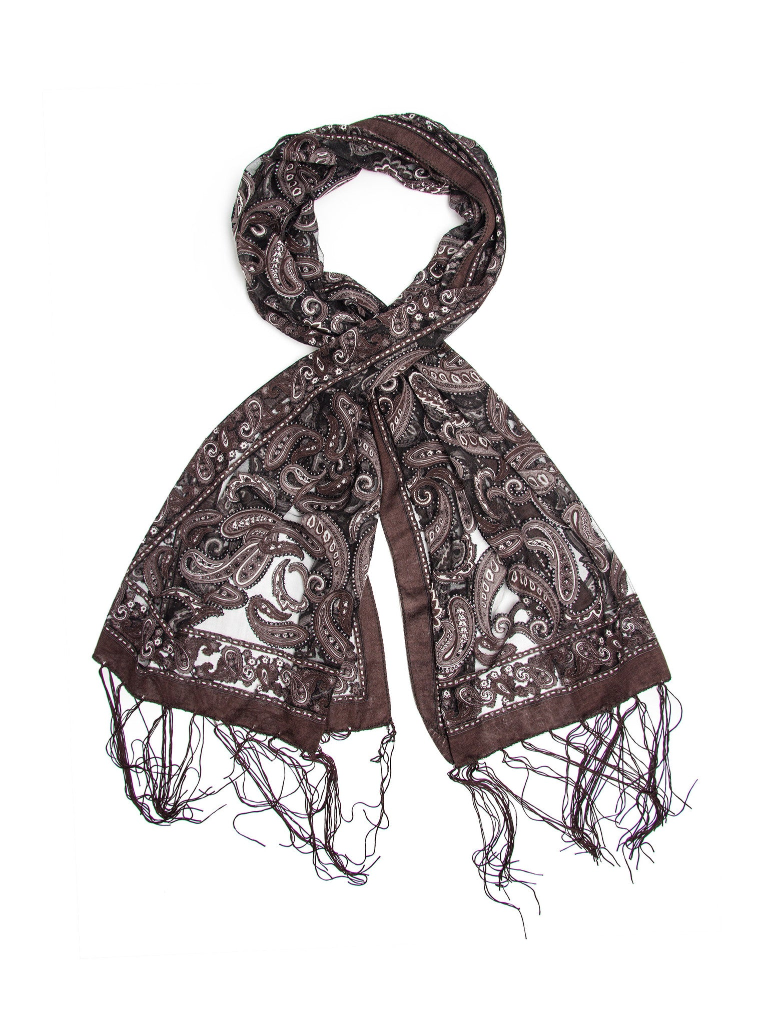 Scarves - Louisa Scarf, Delicate Sheer Burnout Paisley Pattern Scarf Fringe -(Gray/Black / One Size) Bohomonde  - 2