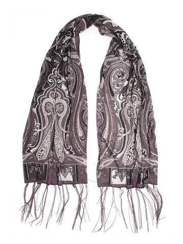 Scarves - Clara Scarf, Delicate Sheer Burnout Paisley Pattern Scarf with Fringe -(Black/Gray / One Size) Bohomonde  - 1