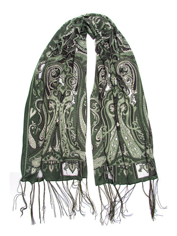 Scarves - Clara Scarf, Delicate Sheer Burnout Paisley Pattern Scarf with Fringe -(Moss / One Size) Bohomonde  - 2