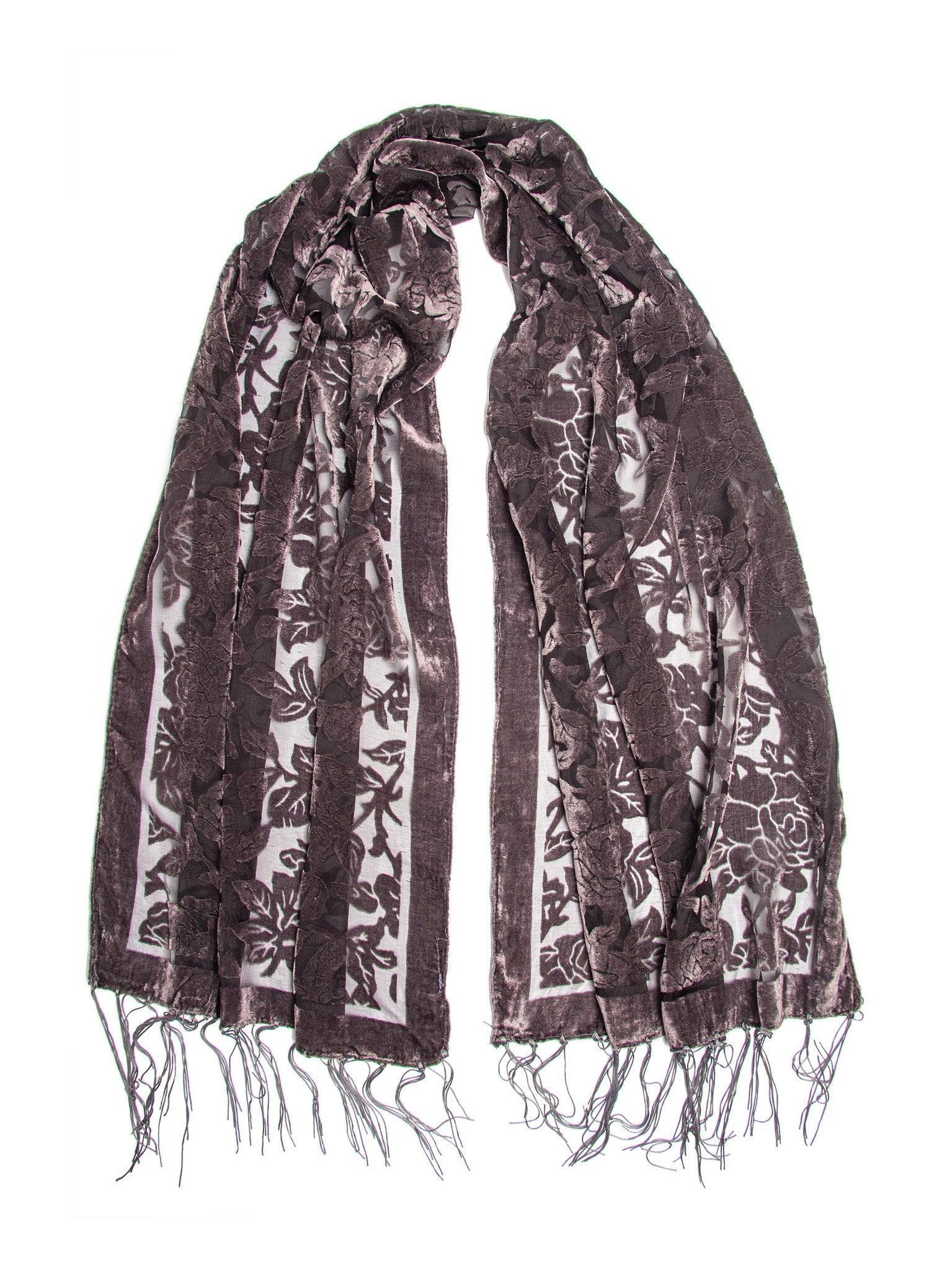 Scarves - Beatrice Scarf, Floral Burnout Fringe Scarf, Rose Print Silk Shawl -(Charcoal / One Size) Bohomonde  - 3