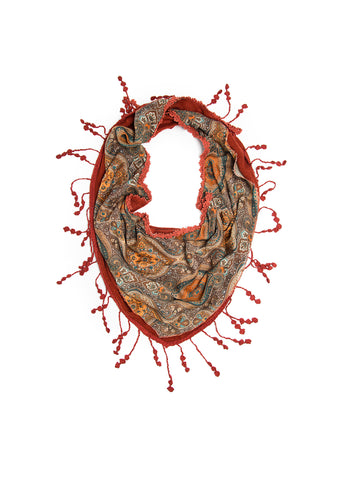 Scarves - Sitara Scarf, Indian Medallion Print Crochet Lace Triangular Scarf -(Rust) Bohomonde  - 1