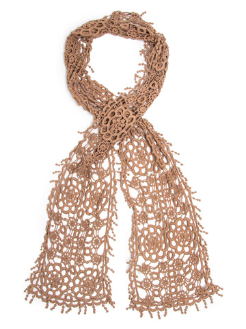 Scarves - Helen Scarf, 100% Cotton Crochet Lace Delicate Pompom Trim, -(Beige / One Size) Bohomonde  - 1