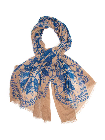 Scarves - Alba Scarf,100% Cotton Tribal Folk Block Print -(Khaki/Indigo / One Size) Bohomonde  - 1