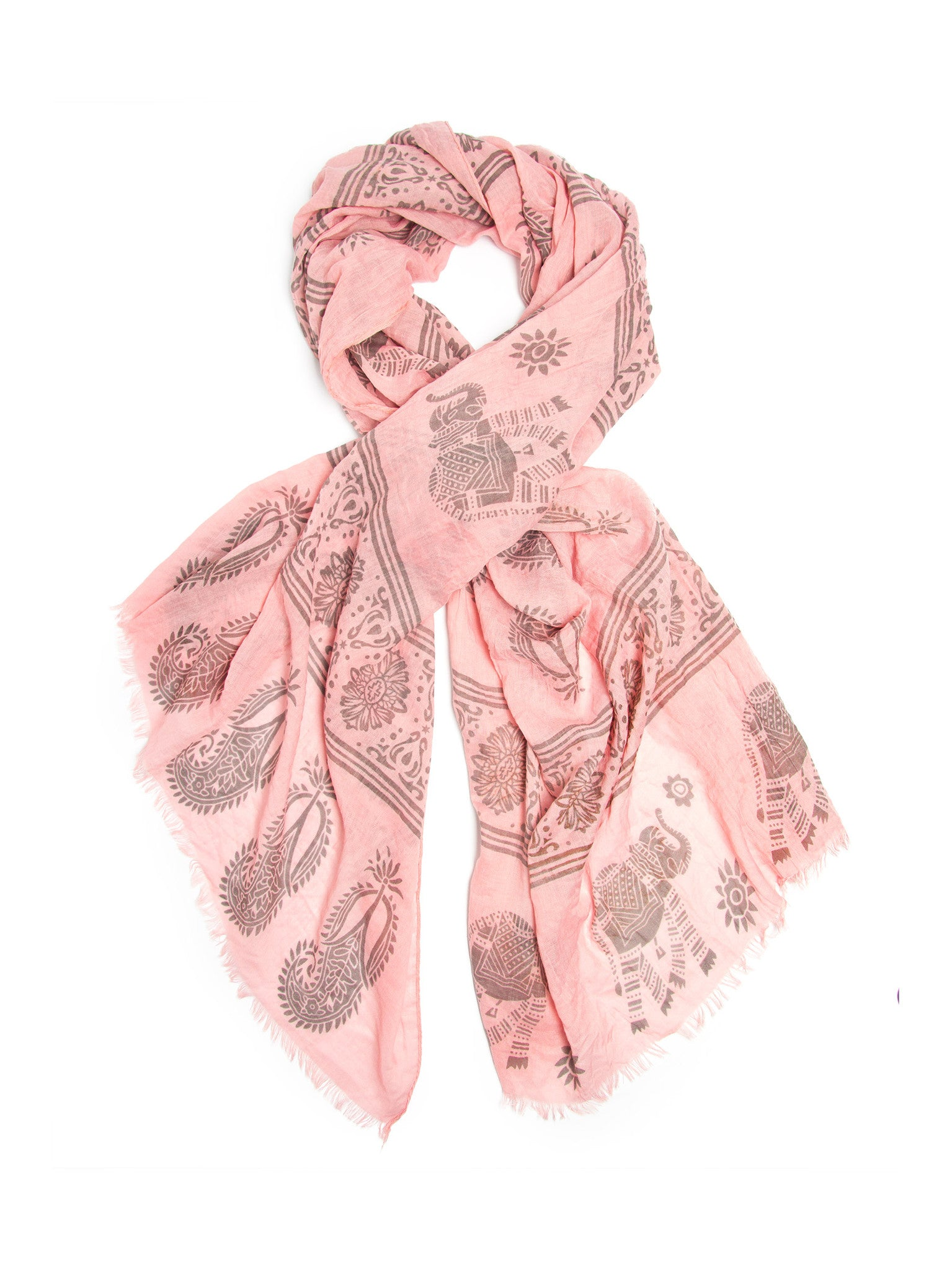 Scarves - Gajai Shawl,100% Cotton Paisley Indian Elephant Print Scarf -(Pink / One Size) Bohomonde  - 3