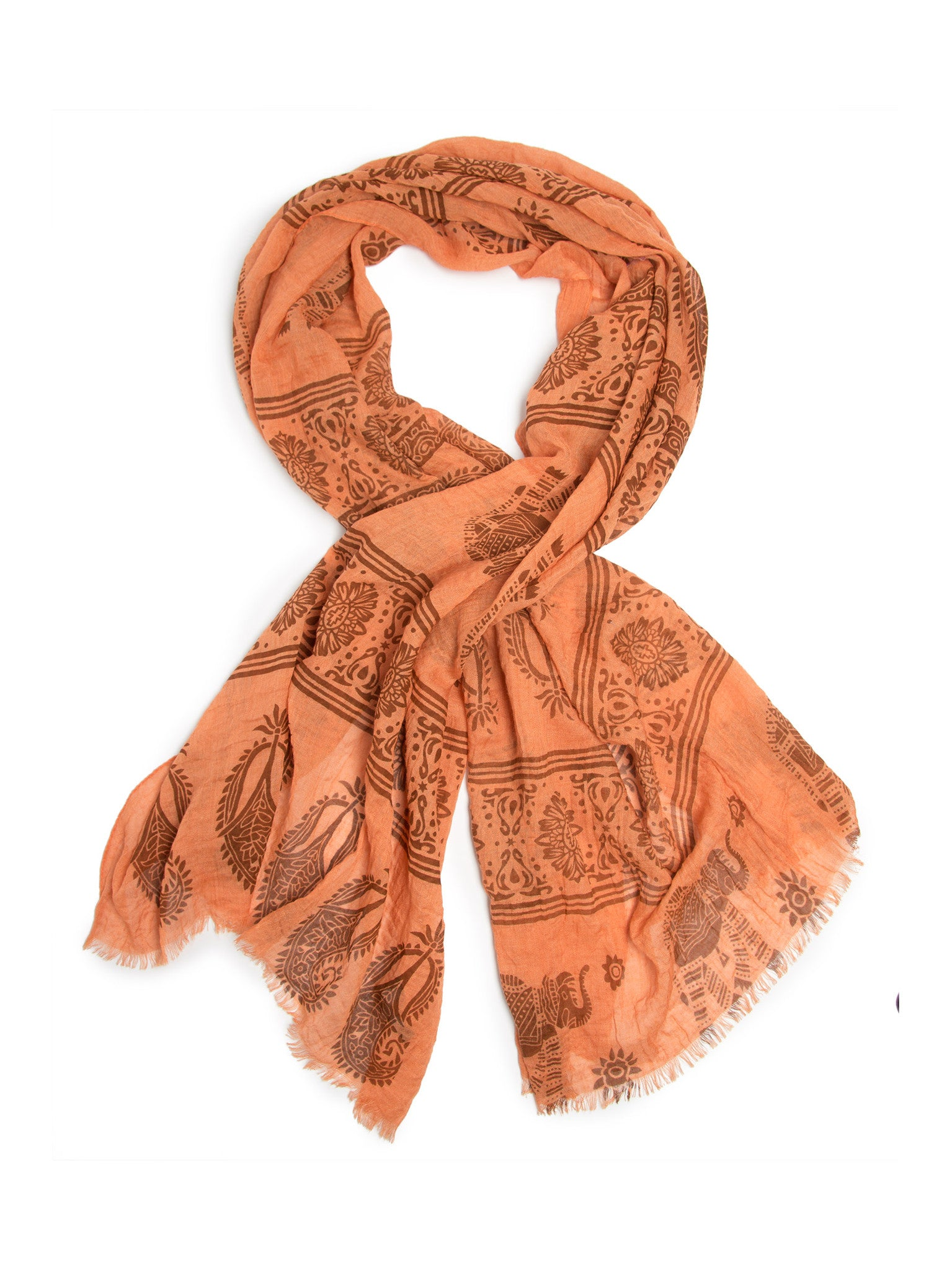 Scarves - Gajai Shawl,100% Cotton Paisley Indian Elephant Print Scarf -(Orange / One Size) Bohomonde  - 4