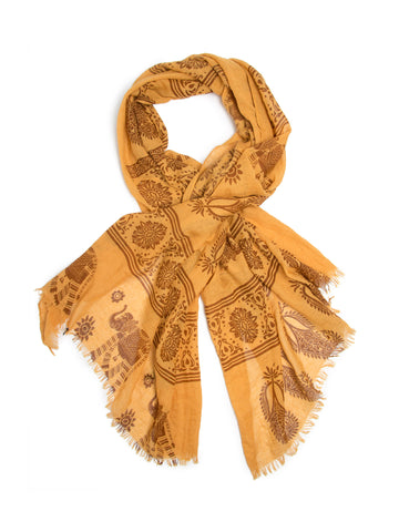 Scarves - Gajai Shawl,100% Cotton Paisley Indian Elephant Print Scarf -(Mustard / One Size) Bohomonde  - 1
