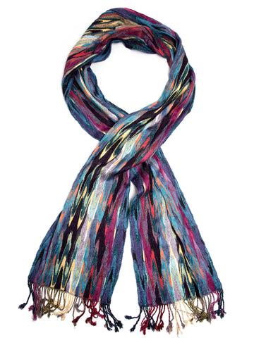 Scarves - Ishia Scarf, Chevron Striped Woven Pashmina Scarf, Hand Made in India -(Gemstone / One Size) Bohomonde  - 1