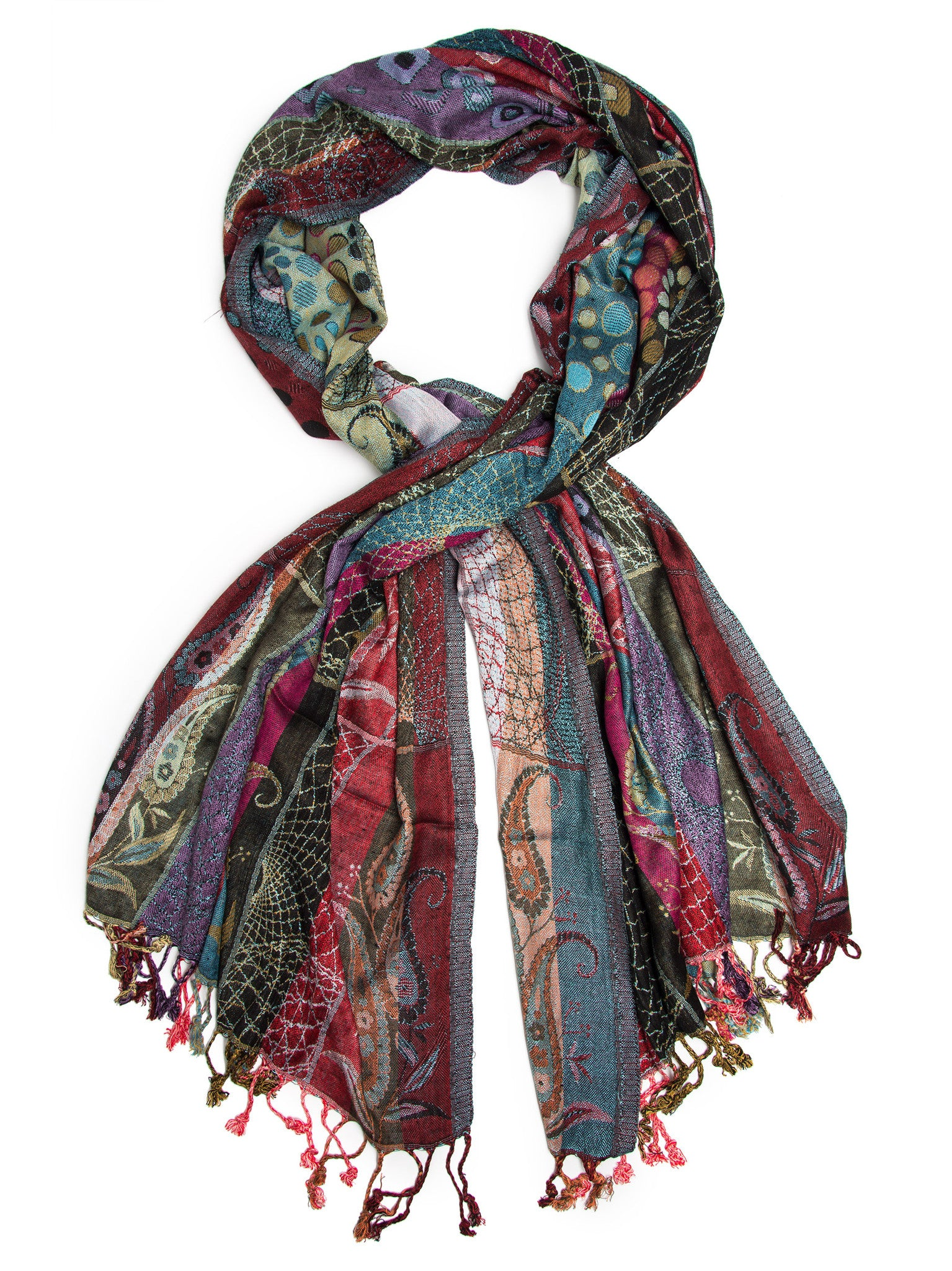 Scarves - Harina Shawl, Woven Reversible Striped Pashmina Scarf, Hand Made in India -(Royal / One Size) Bohomonde  - 1
