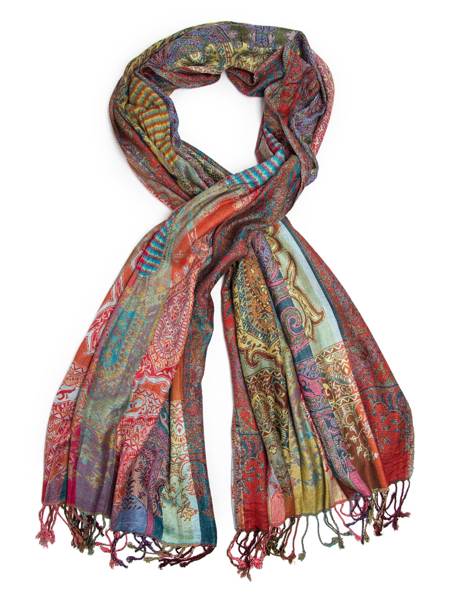 Scarves - Jivala Scarf, Woven Reversible Striped Pashmina Scarf, hand made in India -(Festival / One Size) Bohomonde  - 1