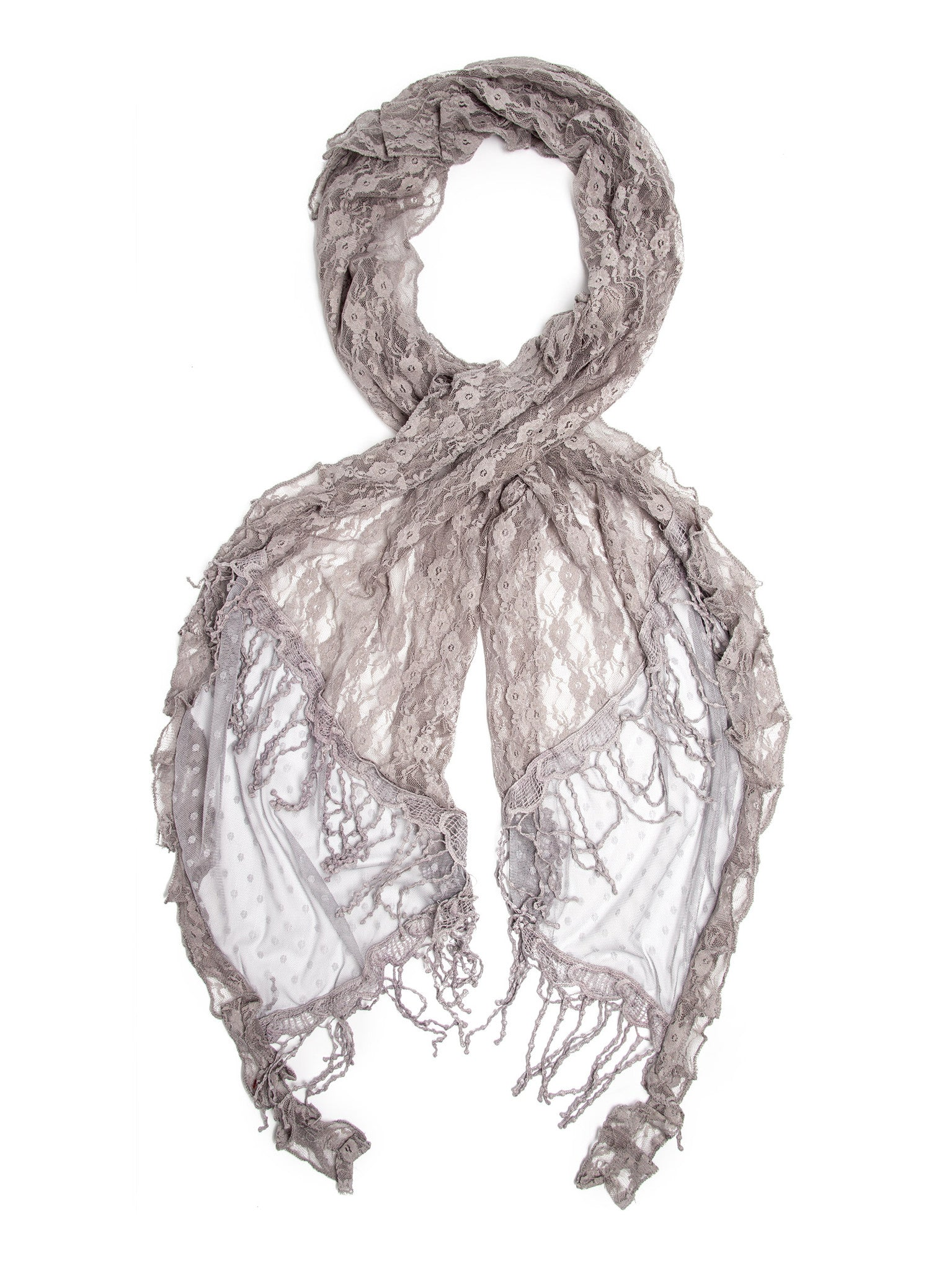 Scarves - Elise Scarf, Vintage Inspired Lace Scarf, Long Crochet Trim -(Silver / One Size) Bohomonde  - 1