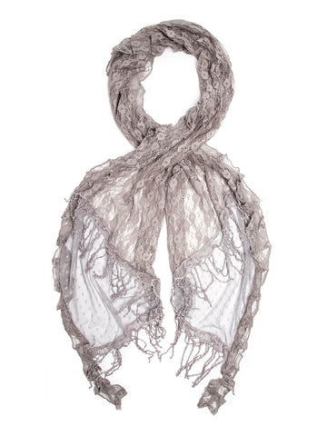 Eleanora Scarf. Fringed Sheer Burnout Fleur de Lis Scarf
