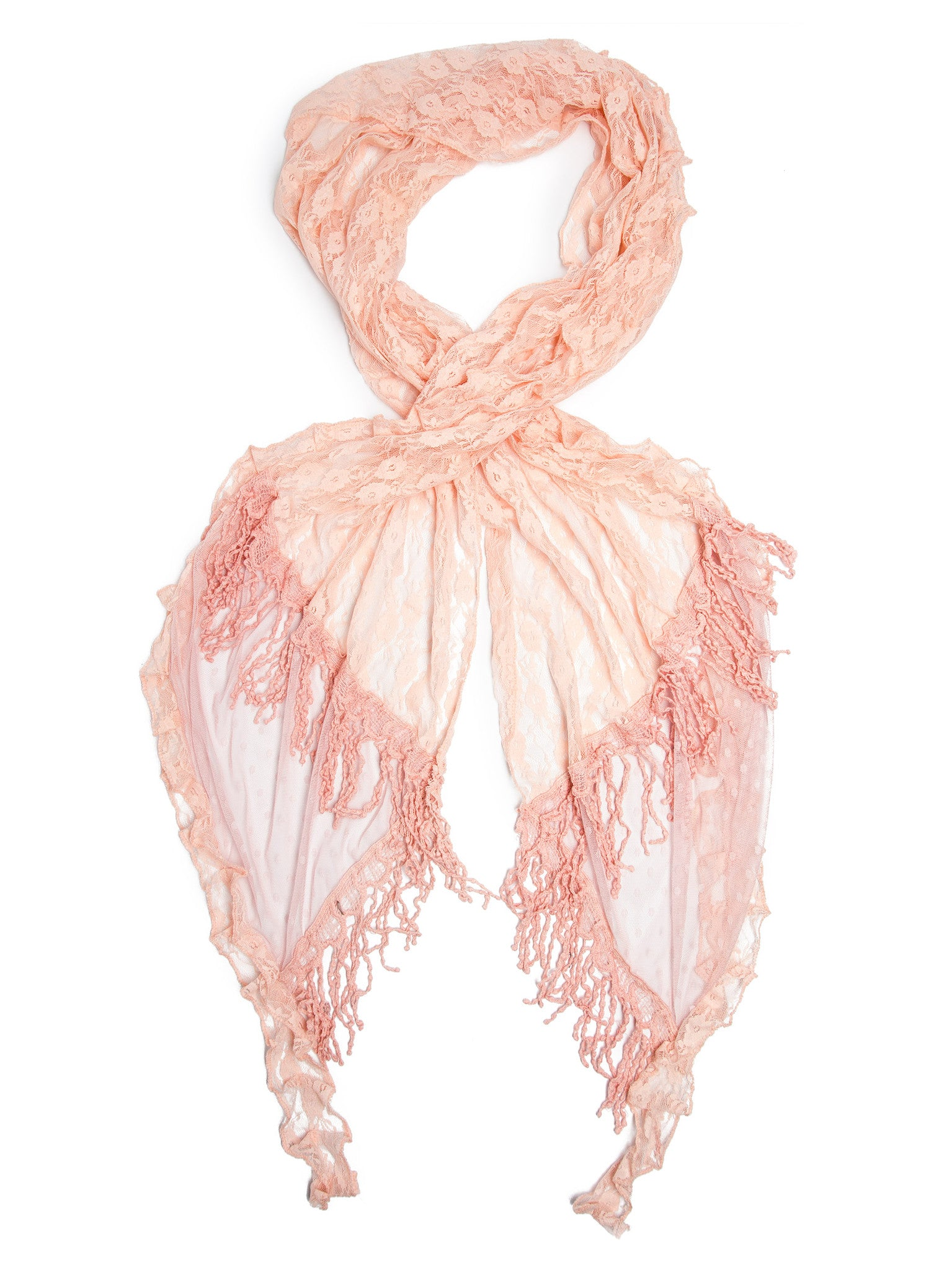 Scarves - Elise Scarf, Vintage Inspired Lace Scarf, Long Crochet Trim -(Peachy Pink / One Size) Bohomonde  - 2