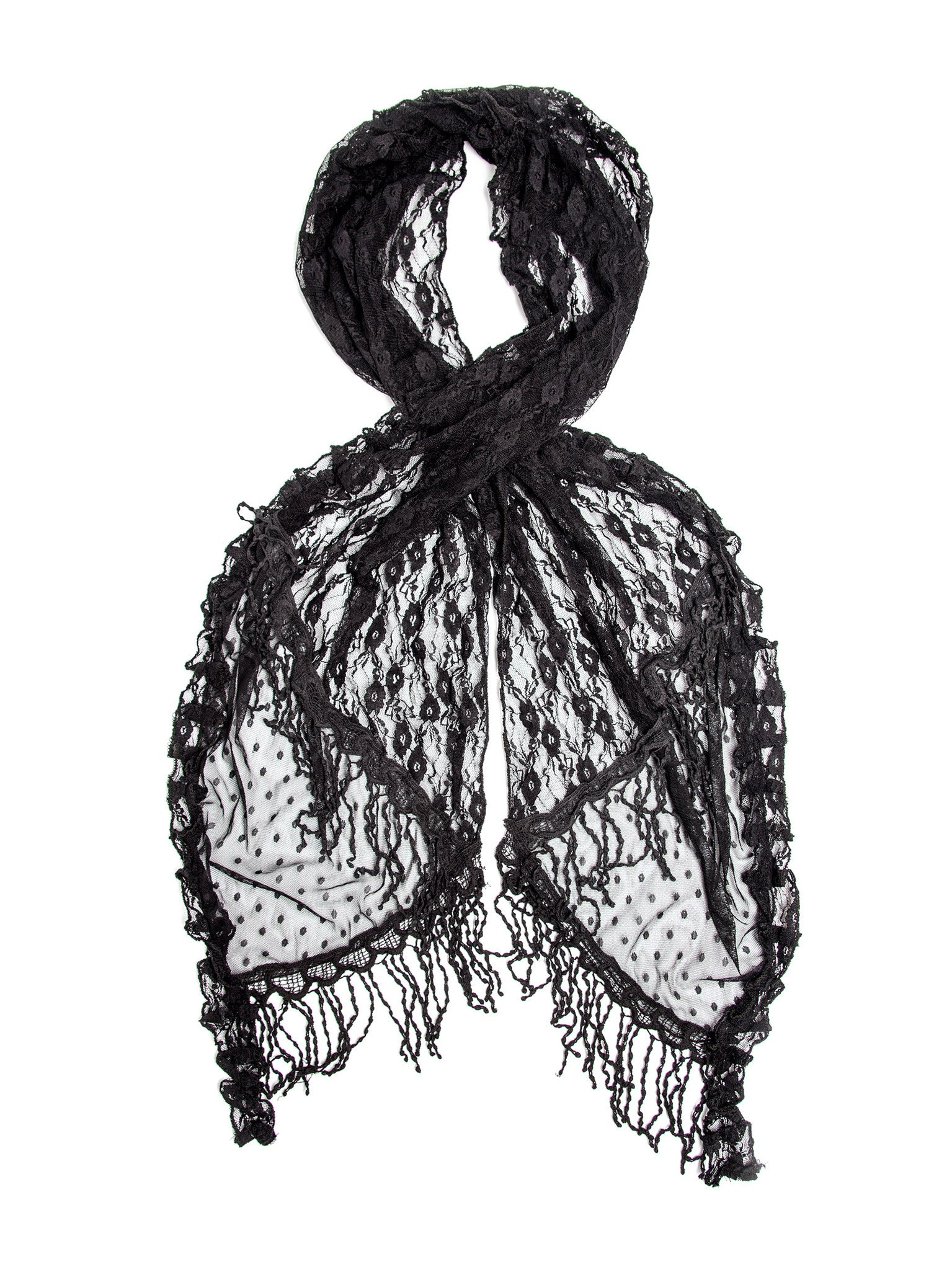 Scarves - Elise Scarf, Vintage Inspired Lace Scarf, Long Crochet Trim -(Black / One Size) Bohomonde  - 3
