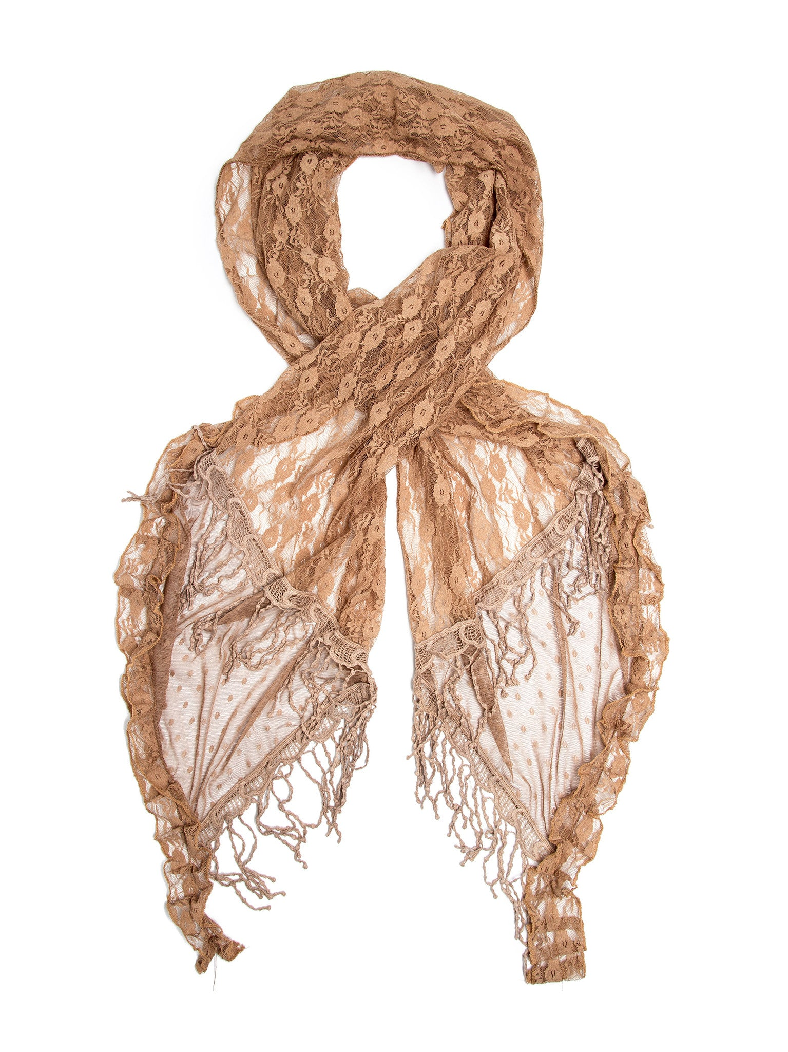 Scarves - Elise Scarf, Vintage Inspired Lace Scarf, Long Crochet Trim -(Warm Beige / One Size) Bohomonde  - 4