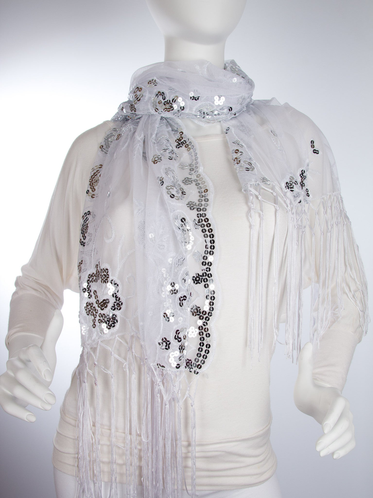 Scarves - Madison Shawl, Long Fringe Sequin Evening Wrap -() Bohomonde  - 12