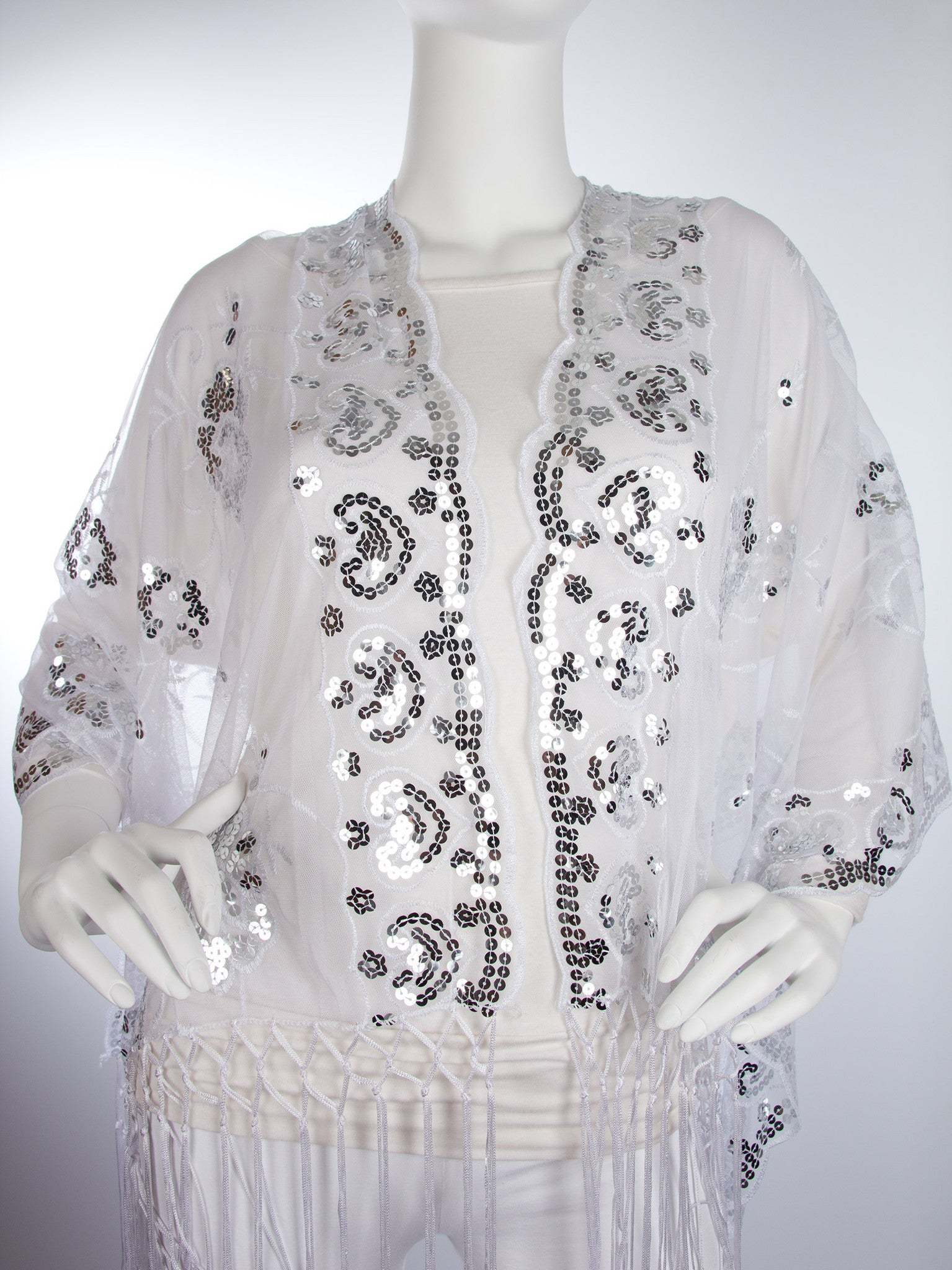 Scarves - Madison Shawl, Long Fringe Sequin Evening Wrap -() Bohomonde  - 13