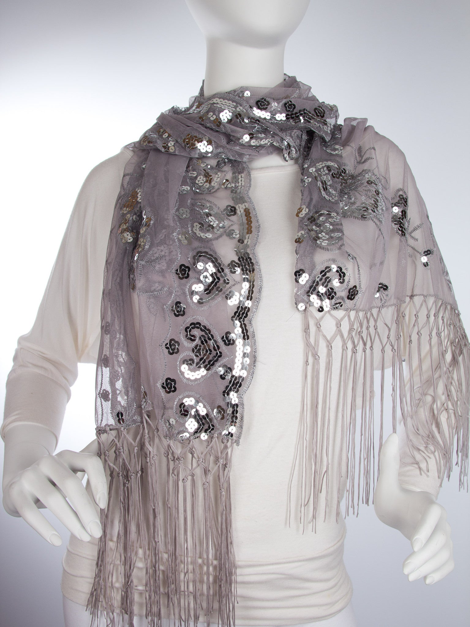 Scarves - Madison Shawl, Long Fringe Sequin Evening Wrap -() Bohomonde  - 8