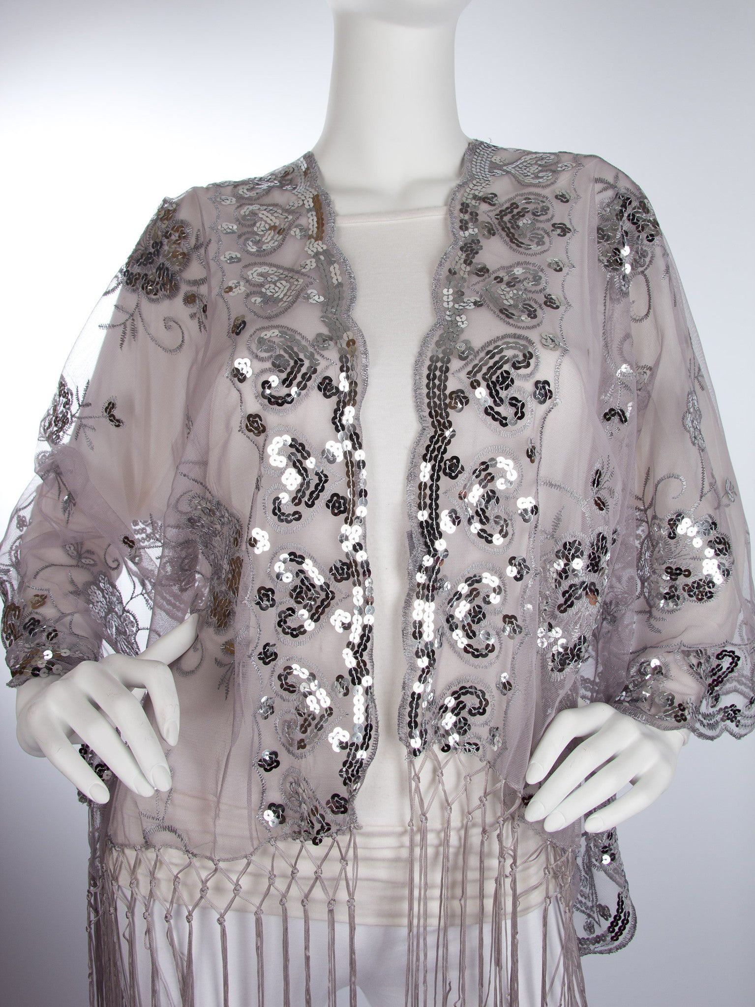 Scarves - Madison Shawl, Long Fringe Sequin Evening Wrap -() Bohomonde  - 9