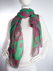 Scarves - Gaja Shawl, Paisley Indian Elephant Print Scarf, Shawl, Beach Wrap -() Bohomonde  - 6