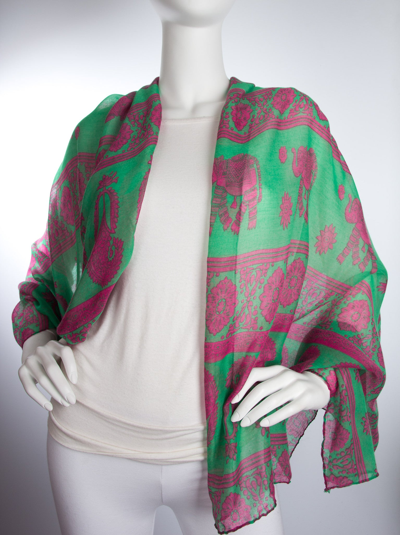 Scarves - Gaja Shawl, Paisley Indian Elephant Print Scarf, Shawl, Beach Wrap -() Bohomonde  - 7
