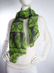 Scarves - Gaja Shawl, Paisley Indian Elephant Print Scarf, Shawl, Beach Wrap -() Bohomonde  - 8