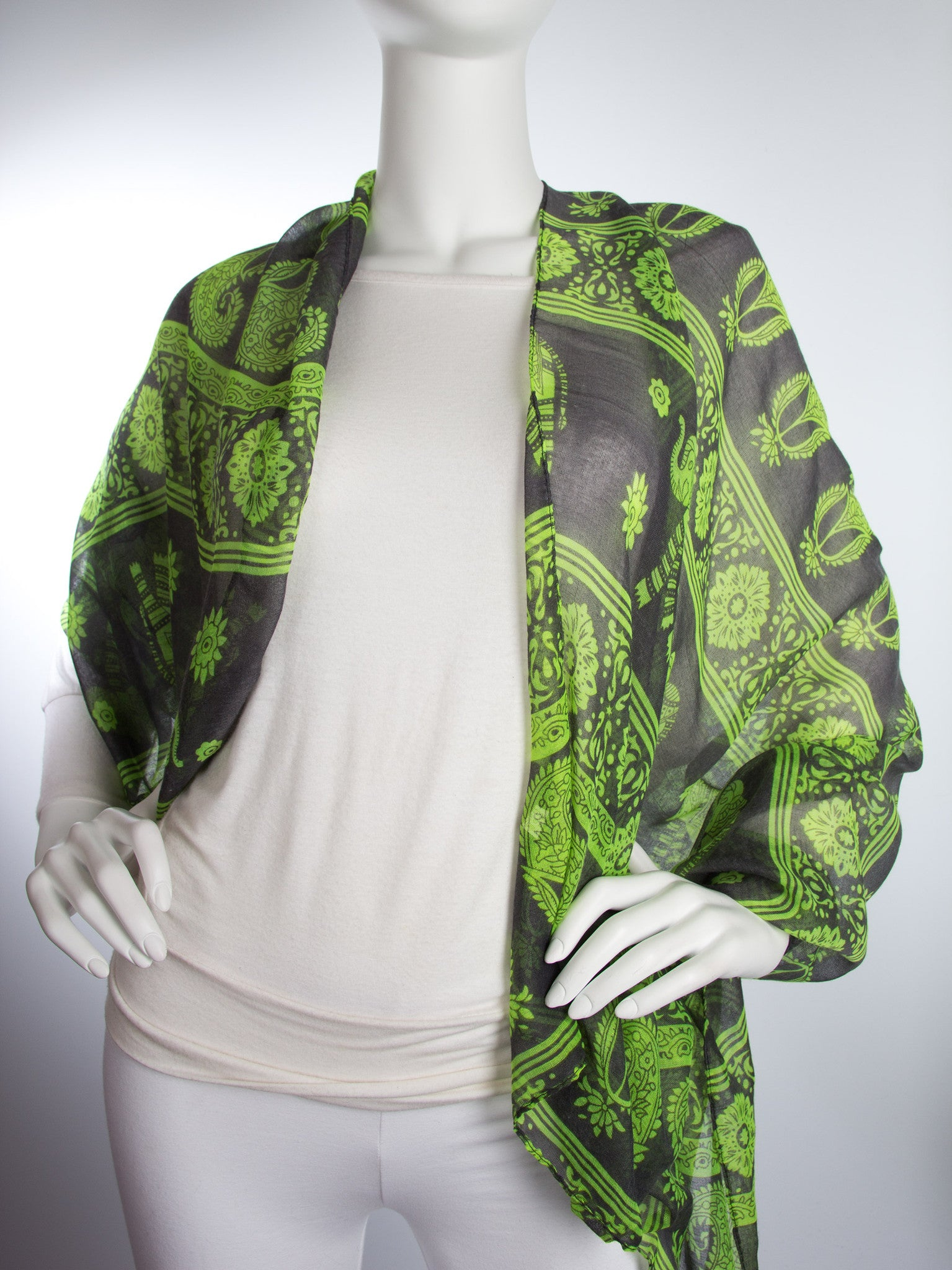 Scarves - Gaja Shawl, Paisley Indian Elephant Print Scarf, Shawl, Beach Wrap -() Bohomonde  - 9