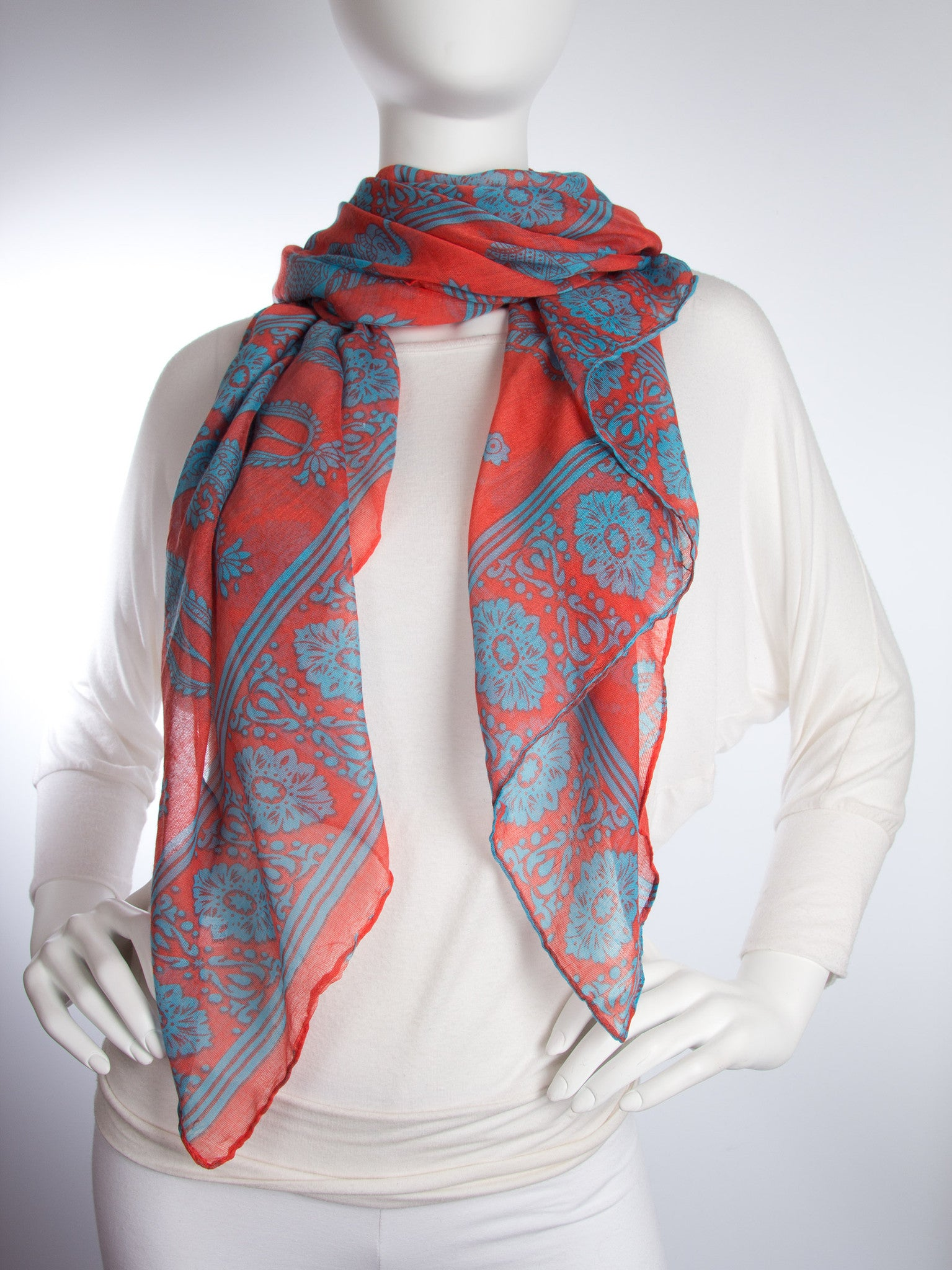 Scarves - Gaja Shawl, Paisley Indian Elephant Print Scarf, Shawl, Beach Wrap -() Bohomonde  - 10