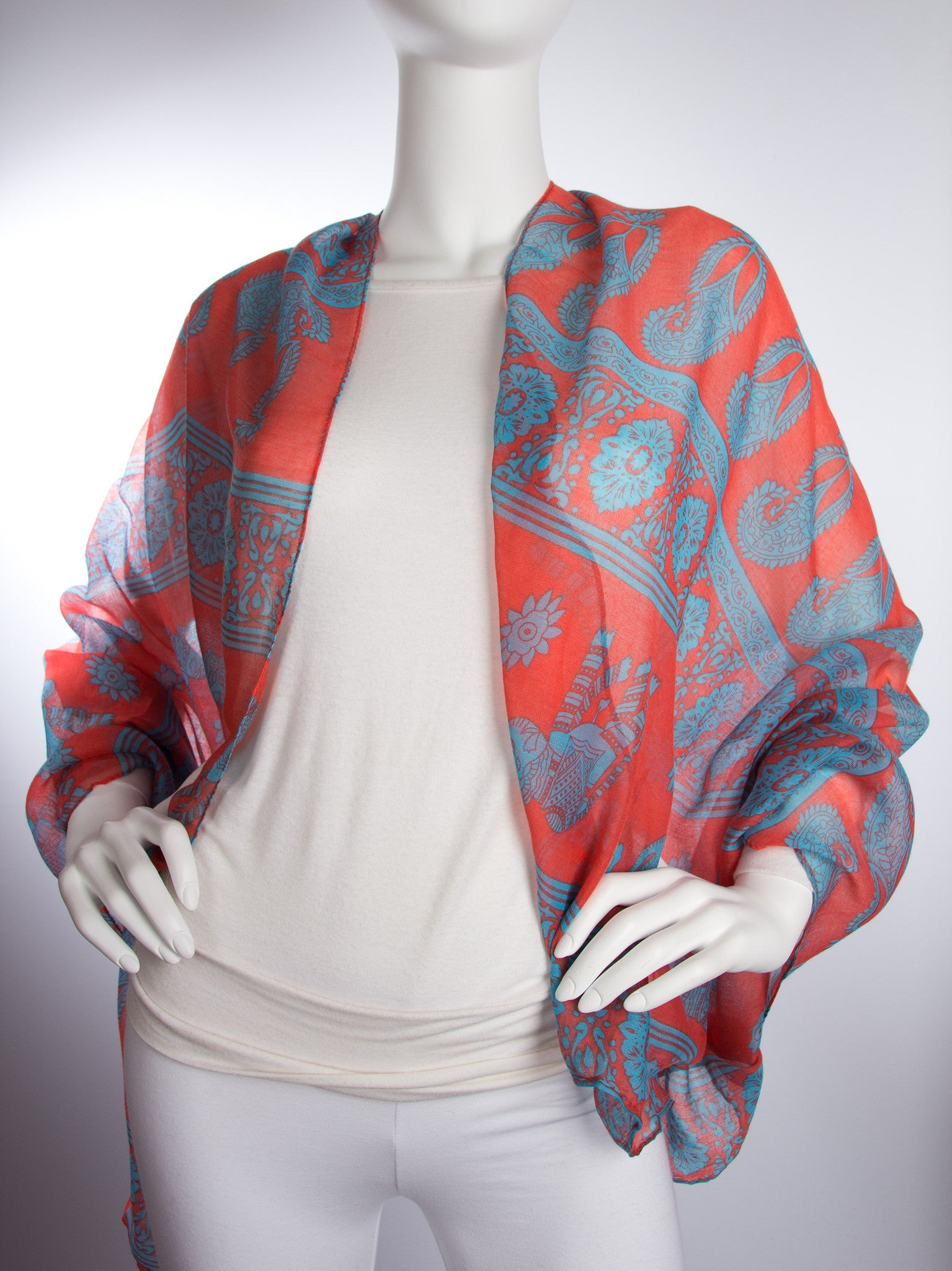 Scarves - Gaja Shawl, Paisley Indian Elephant Print Scarf, Shawl, Beach Wrap -() Bohomonde  - 11