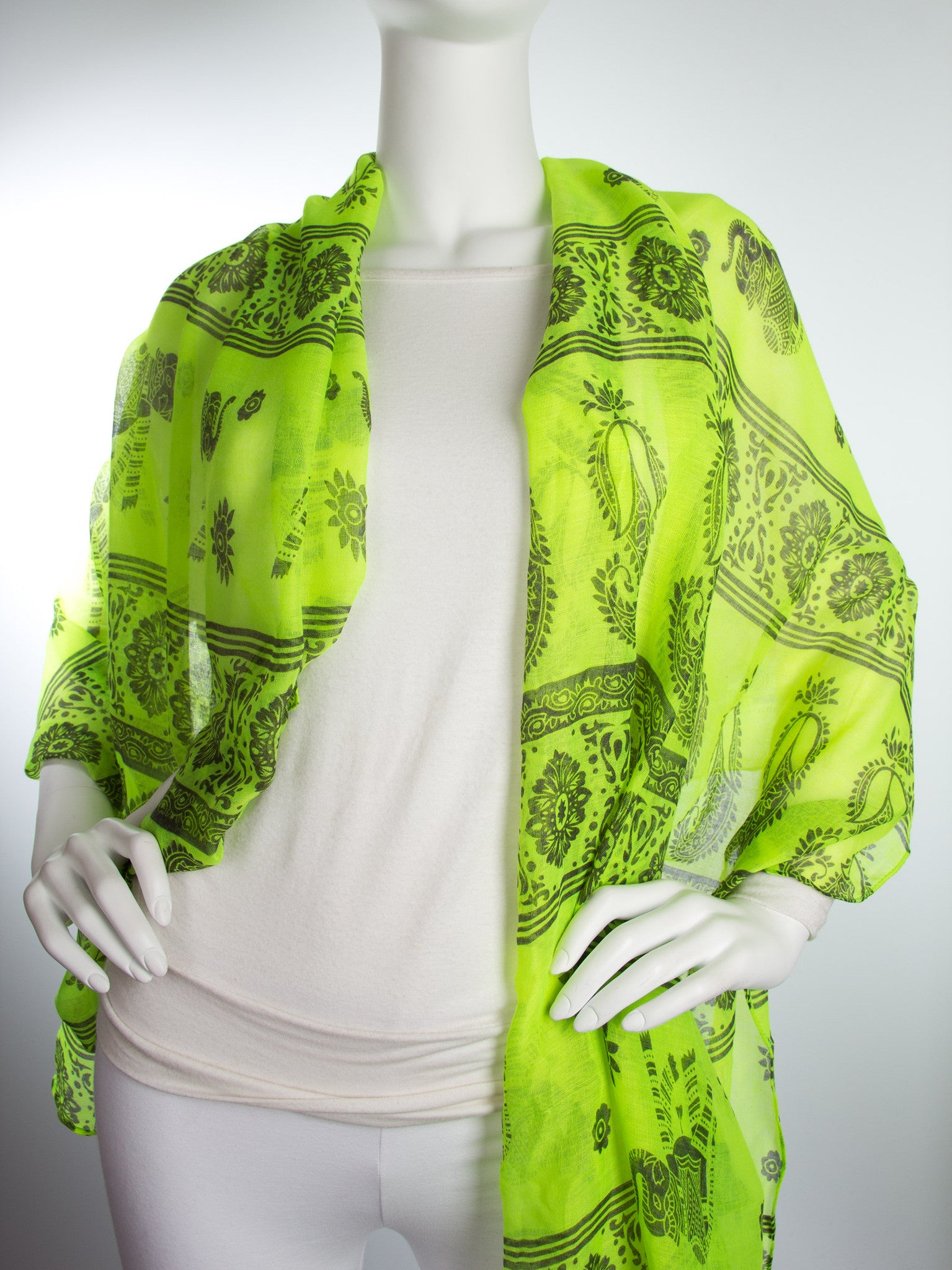 Scarves - Gaja Shawl, Paisley Indian Elephant Print Scarf, Shawl, Beach Wrap -() Bohomonde  - 15