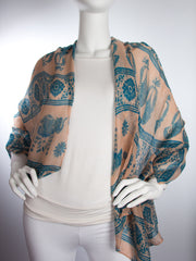 Scarves - Gaja Shawl, Paisley Indian Elephant Print Scarf, Shawl, Beach Wrap -() Bohomonde  - 13