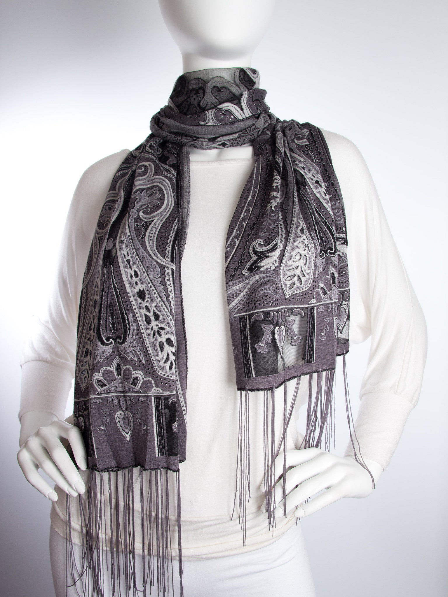Scarves - Clara Scarf, Delicate Sheer Burnout Paisley Pattern Scarf with Fringe -() Bohomonde  - 5