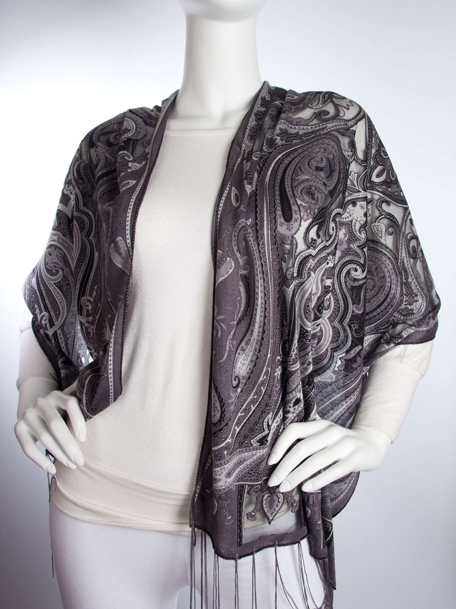 Scarves - Clara Scarf, Delicate Sheer Burnout Paisley Pattern Scarf with Fringe -() Bohomonde  - 7