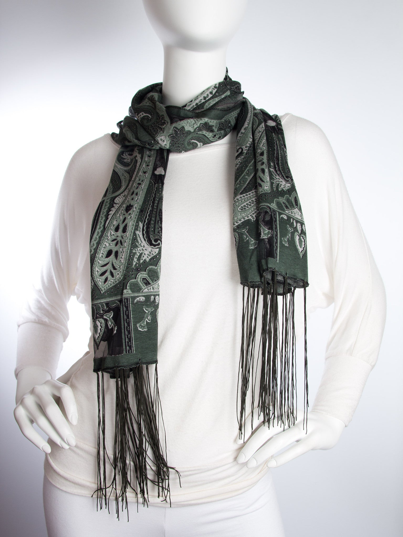 Scarves - Clara Scarf, Delicate Sheer Burnout Paisley Pattern Scarf with Fringe -() Bohomonde  - 4