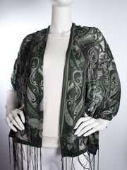 Scarves - Clara Scarf, Delicate Sheer Burnout Paisley Pattern Scarf with Fringe -() Bohomonde  - 6