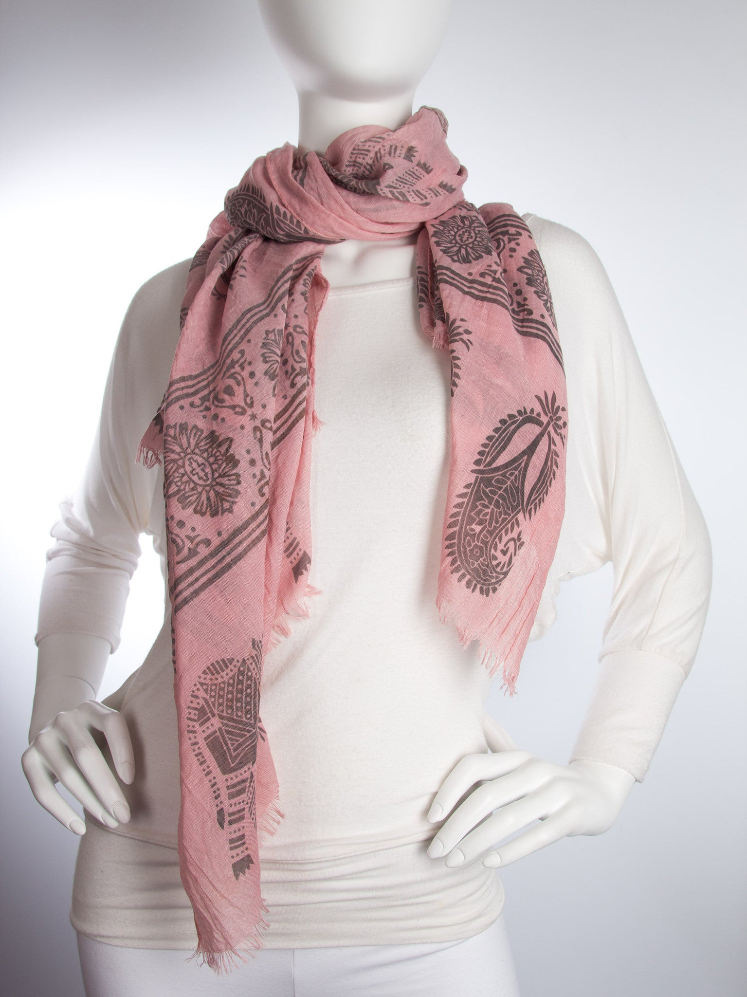 Scarves - Gajai Shawl,100% Cotton Paisley Indian Elephant Print Scarf -() Bohomonde  - 5
