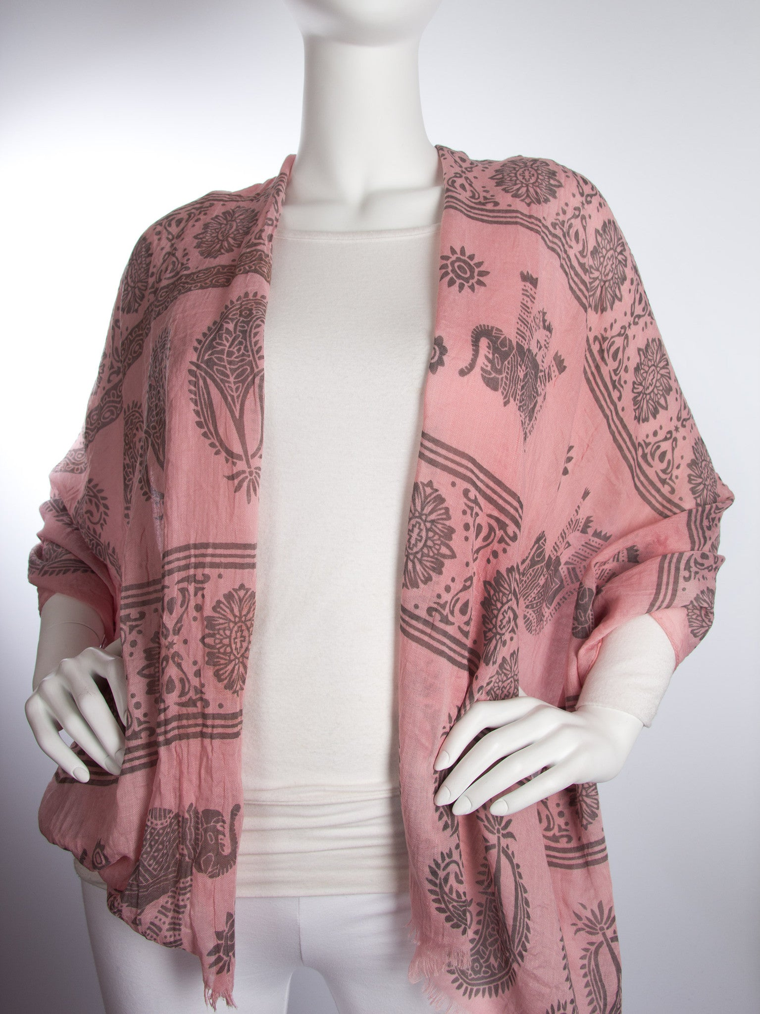 Scarves - Gajai Shawl,100% Cotton Paisley Indian Elephant Print Scarf -() Bohomonde  - 6