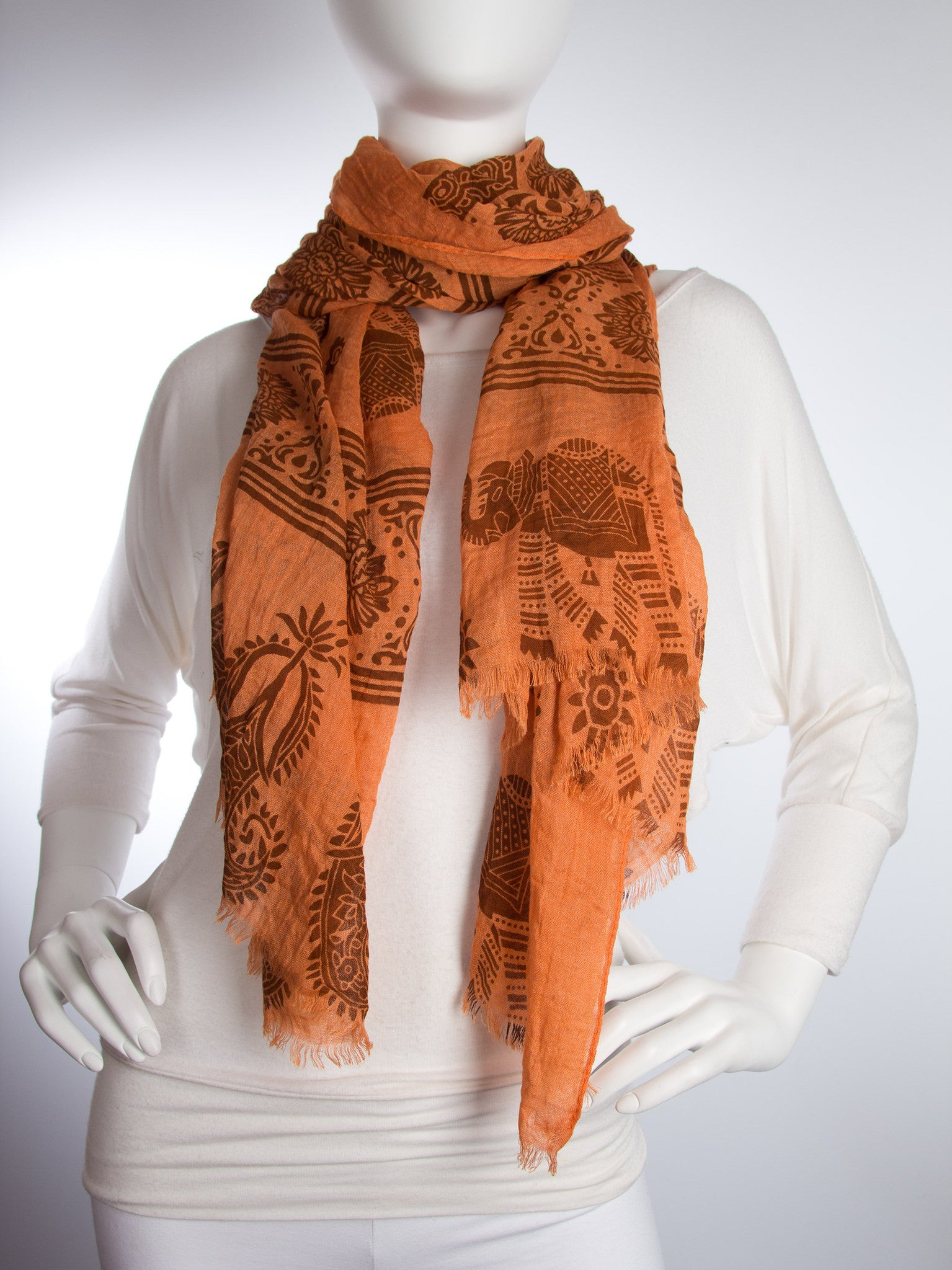 Scarves - Gajai Shawl,100% Cotton Paisley Indian Elephant Print Scarf -() Bohomonde  - 7