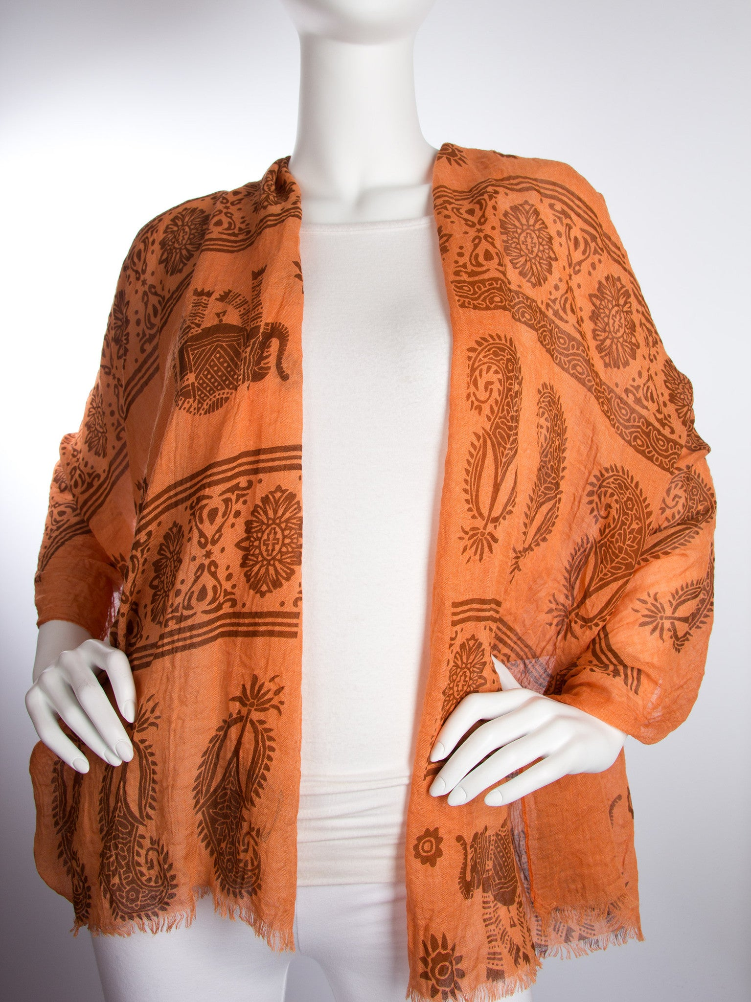 Scarves - Gajai Shawl,100% Cotton Paisley Indian Elephant Print Scarf -() Bohomonde  - 8