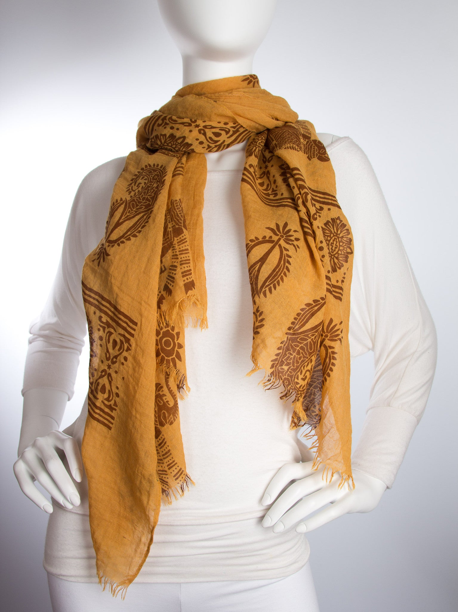 Scarves - Gajai Shawl,100% Cotton Paisley Indian Elephant Print Scarf -() Bohomonde  - 9