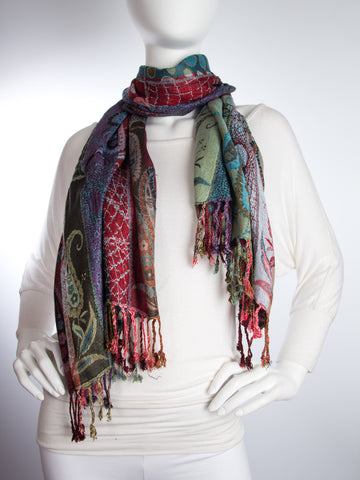 Scarves - Harina Shawl, Woven Reversible Striped Pashmina Scarf, Hand Made in India -() Bohomonde  - 2