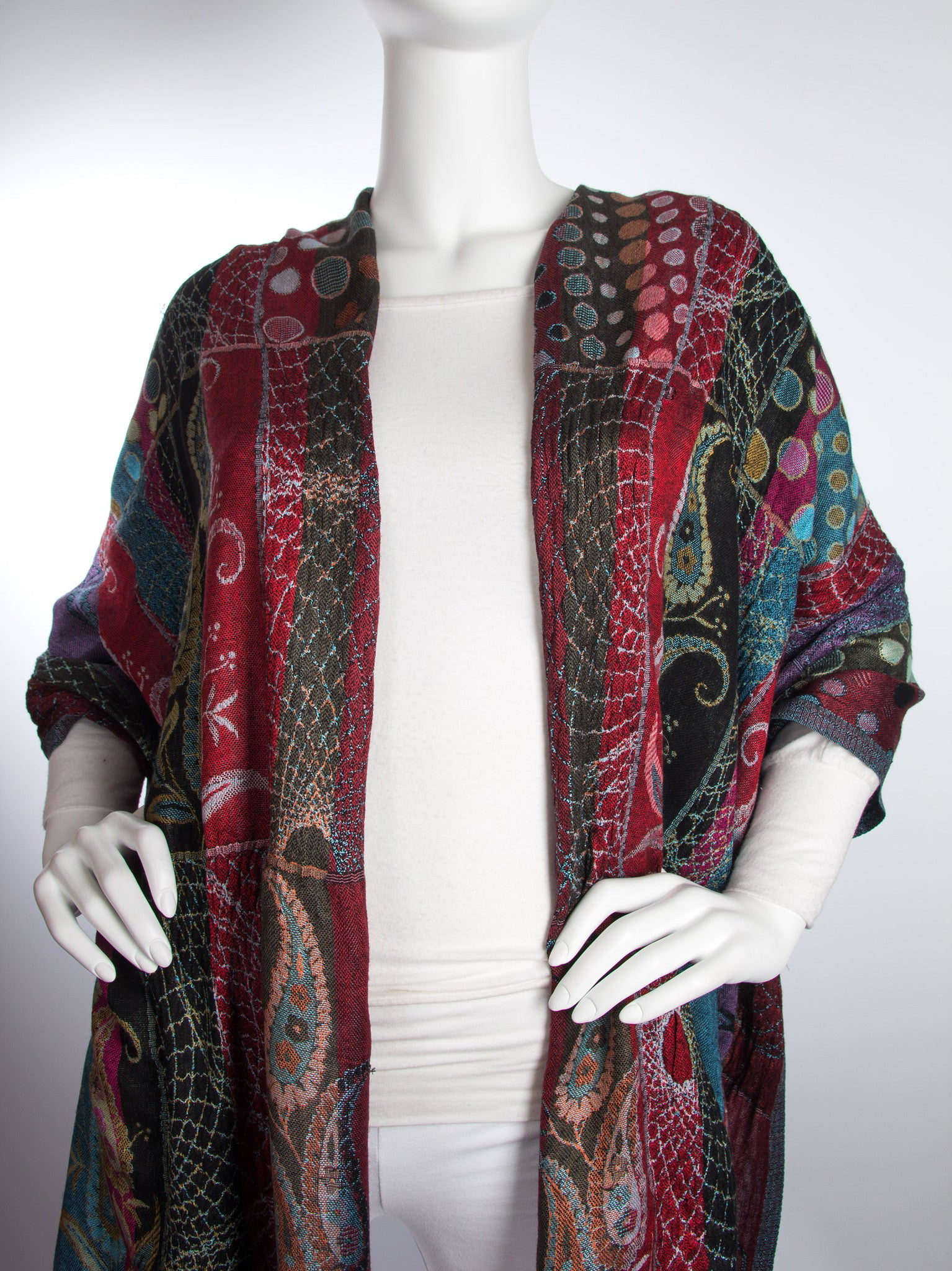 Scarves - Harina Shawl, Woven Reversible Striped Pashmina Scarf, Hand Made in India -() Bohomonde  - 3