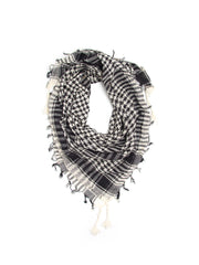 Scarves - Shemagh Scarf, 100% Cotton Square Scarf, Keffiah Scarf -(White/Black / One Size) Bohomonde  - 7