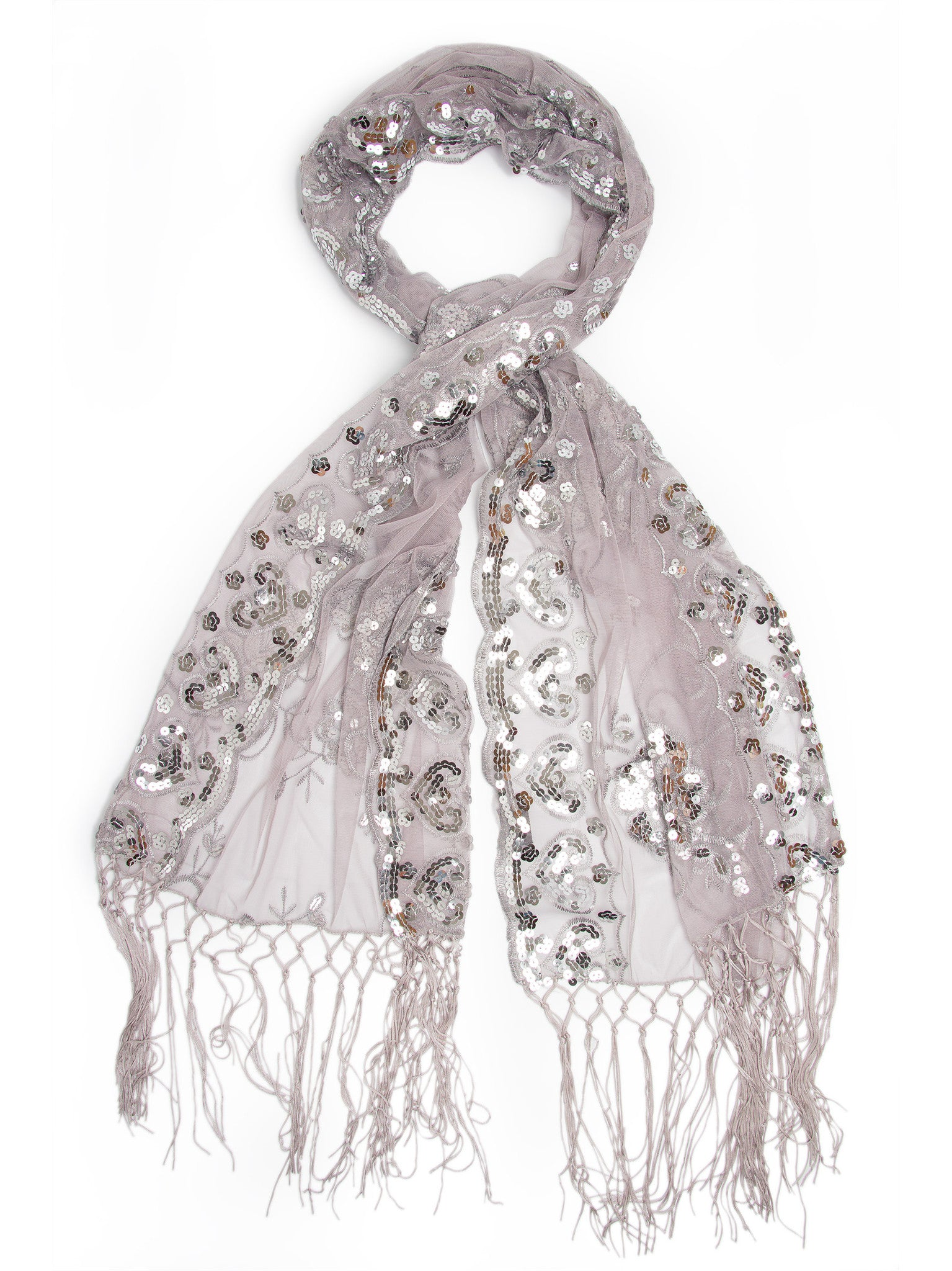 Scarves - Madison Shawl, Long Fringe Sequin Evening Wrap -(Gray/Silver / One Size) Bohomonde  - 5