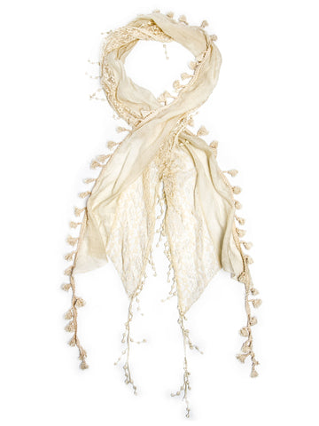 Scarves - Della Scarf, Lace Tassel Scarf, Crochet Trim -(Antique White / One Size) Bohomonde  - 2