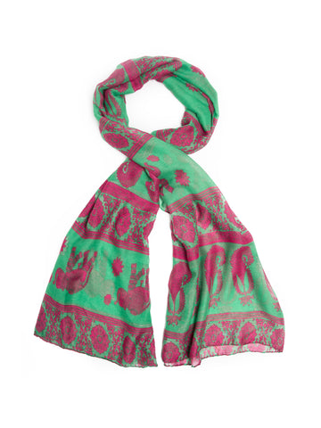 Scarves - Gaja Shawl, Paisley Indian Elephant Print Scarf, Shawl, Beach Wrap -(Emerald/Fuschia / One Size) Bohomonde  - 1