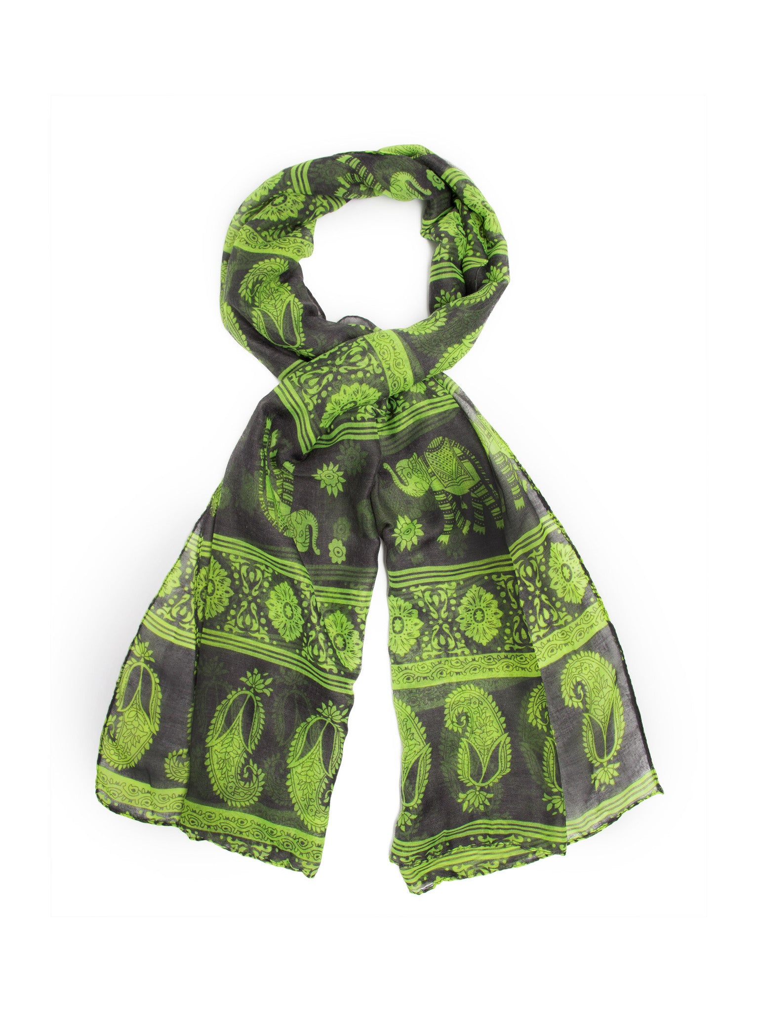 Scarves - Gaja Shawl, Paisley Indian Elephant Print Scarf, Shawl, Beach Wrap -(Gray/Lime / One Size) Bohomonde  - 2