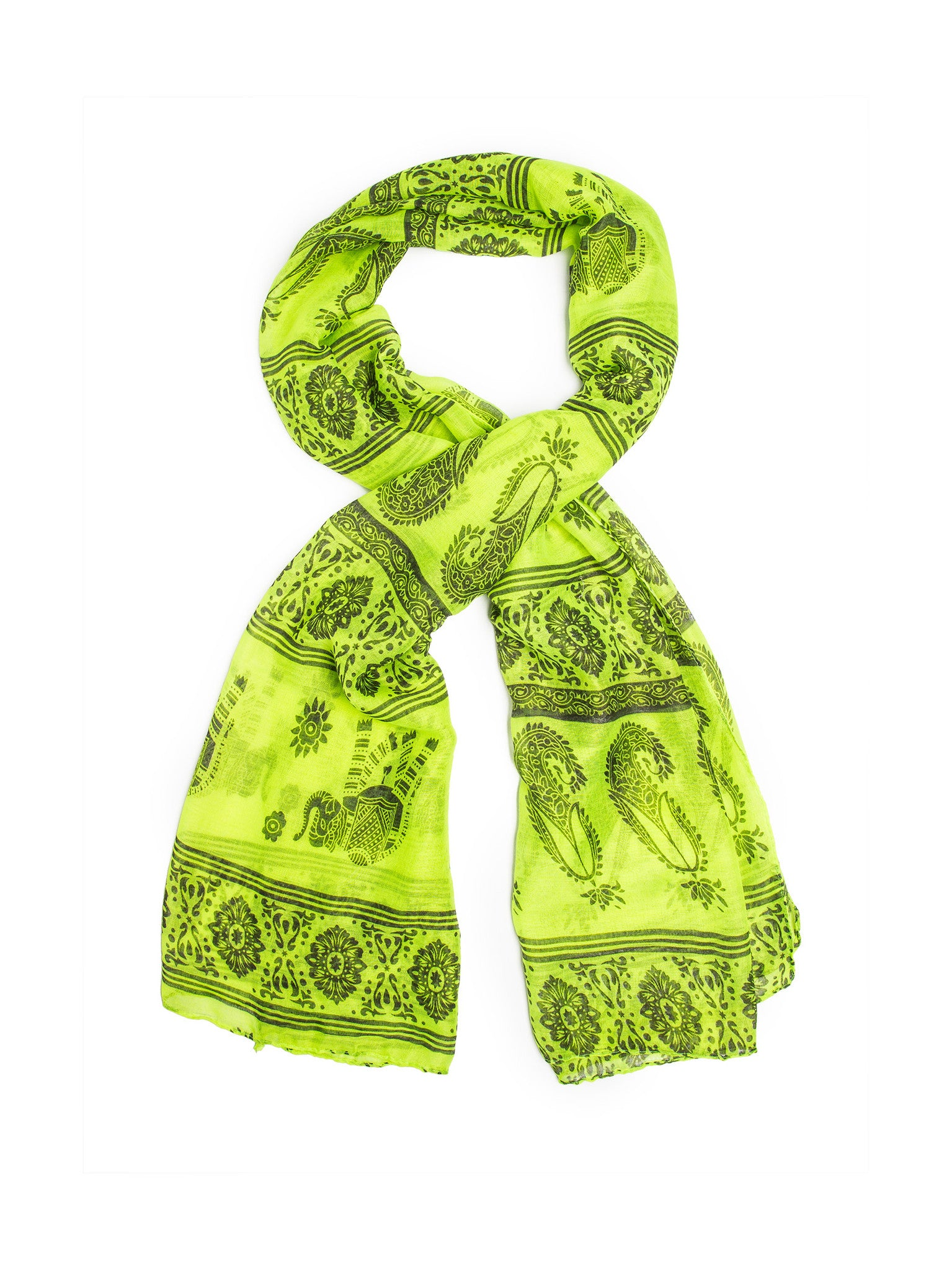 Scarves - Gaja Shawl, Paisley Indian Elephant Print Scarf, Shawl, Beach Wrap -(Lime/Gray / One Size) Bohomonde  - 4