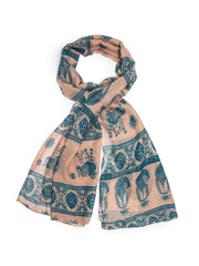 Scarves - Gaja Shawl, Paisley Indian Elephant Print Scarf, Shawl, Beach Wrap -(Peach/Teal / One Size) Bohomonde  - 3